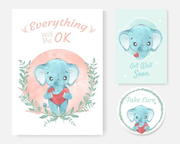귀여운 코끼리 만화 손으로 그린 수채화와 긍정적 인 메시지의 카드 프리미엄 벡터