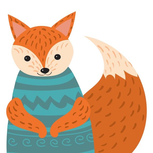 キツネの漫画の肖像画。セーターの様式化された幸せなキツネ。子供のための絵。はがきの動物のイラスト。 Premiumベクター