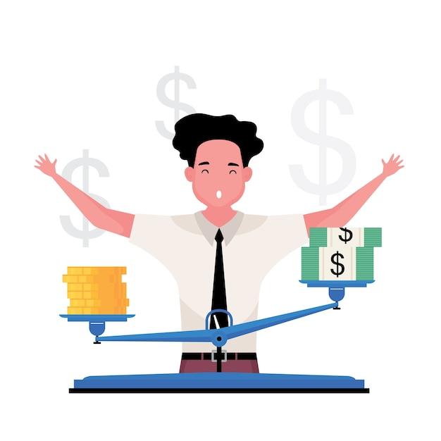 金の価値が高い漫画の特徴は、金と金の間にある尺度で男性が測定することです Premiumベクター