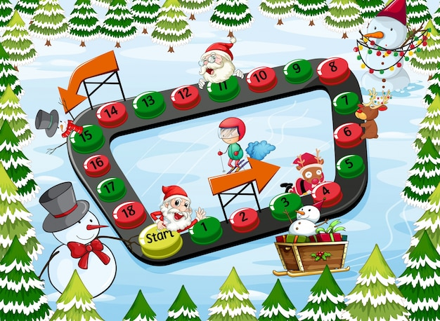 A christmas board game Free Vector
