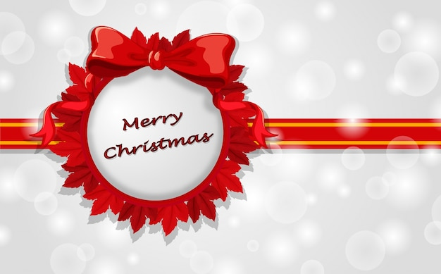 A Christmas Card Template With Red Ribbons Vector Free Download - Christmas cards templates free downloads