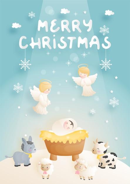 천사, 당나귀 및 다른 동물들과 함께 구유에있는 아기 예수와 함께 크리스마스 출생 장면 만화. 기독교 종교 그림. 프리미엄 벡터