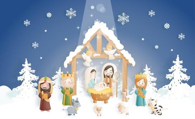 천사, 당나귀 및 다른 동물들과 함께 구유에있는 아기 예수와 함께 크리스마스 출생 장면 만화. 기독교 종교 프리미엄 벡터