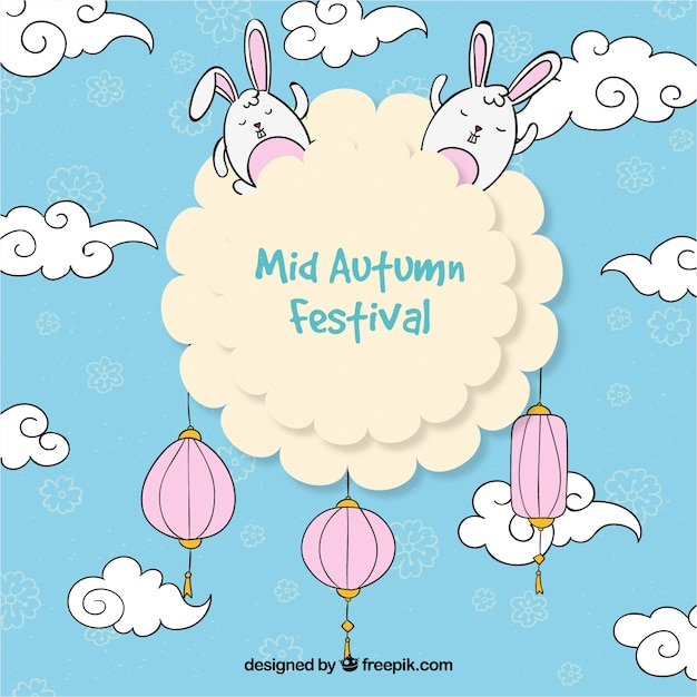 A cloud with lanterns and rabbits, mid autumn festival