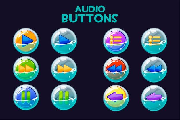비누 거품에 밝은 멀티 컬러 오디오 버튼의 컬렉션입니다. 음악 재생 인터페이스 용 버튼 세트. 프리미엄 벡터