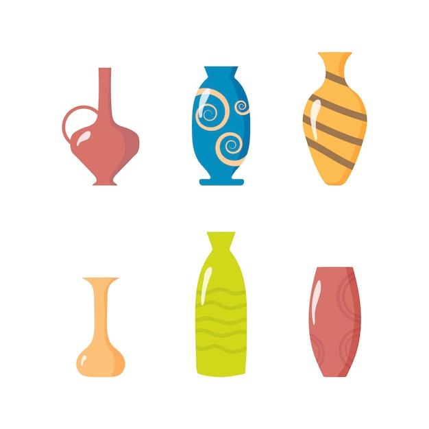 セラミック花瓶のコレクション。キッチン用品粘土ボウルとポット。色付きセラミック花瓶オブジェクト、花、花と抽象的なパターンのアンティークカップ。インテリアの要素。図。 Premiumベクター