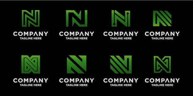 クリエイティブなn文字のロゴデザインのコレクション Premiumベクター