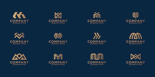 抽象的なゴールドカラーのレターmロゴデザインのコレクション。ビジネス向けのモダンなミニマリストフラット Premiumベクター