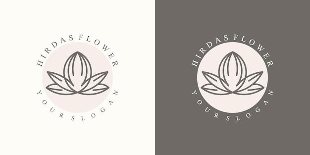 현대적인 브랜드를위한 고급스러운 미니멀리스트 내추럴 플로럴 로고 컬렉션 프리미엄 벡터