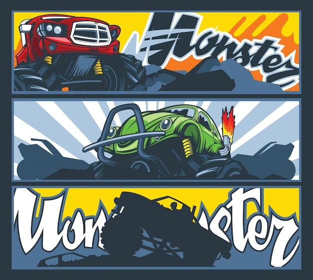 モンスターカーの3つのバナーのコレクション。 Premiumベクター