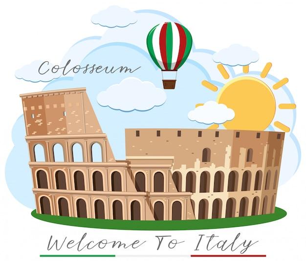 Колизей рим италия ориентир Premium векторы