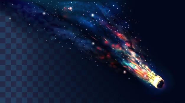 透明な煙のある彗星または小惑星。 Premiumベクター