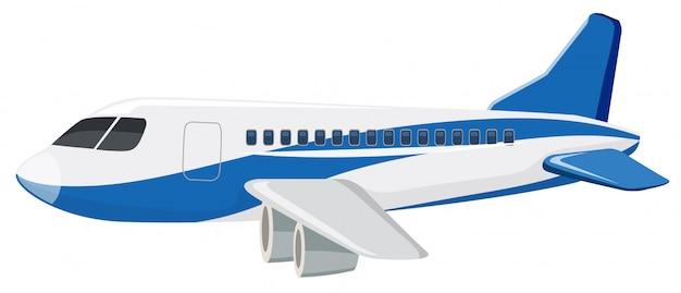 白い背景の上の民間航空機 無料ベクター