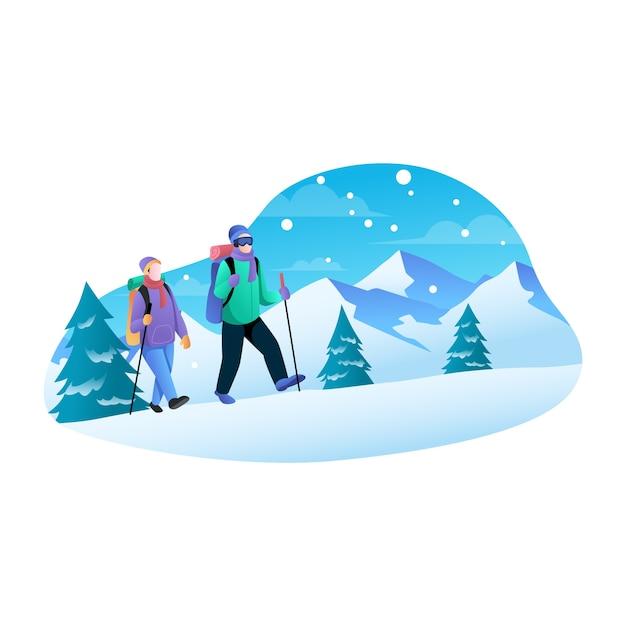 冬のフラットイラストで山を登るカップル Premiumベクター