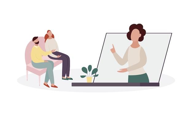 コンピューターの画面または電話でコンサルタントの心理学者との治療セッション中のカップル。オンライン心理的ヘルプの概念。白い背景に分離 Premiumベクター