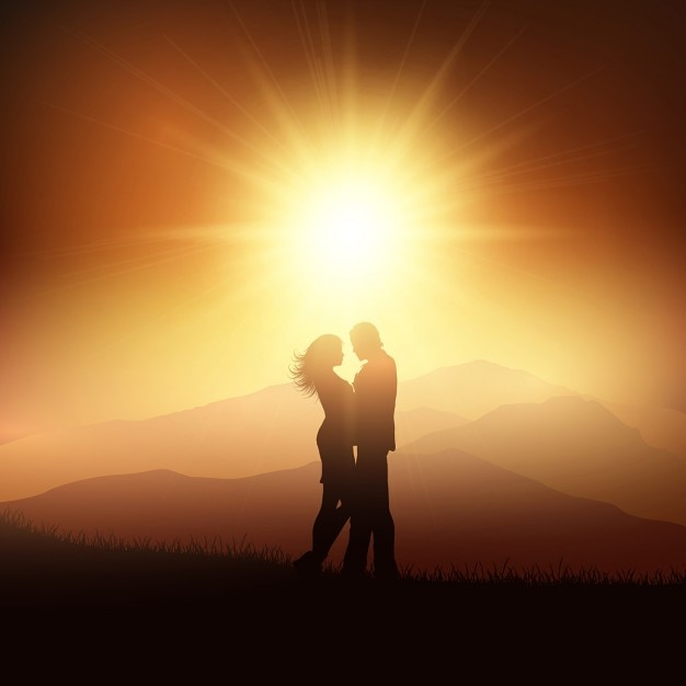 A couple in love on a sunset Free Vector