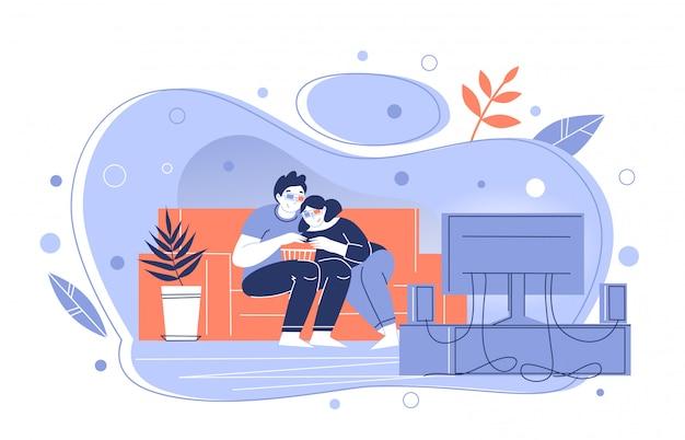 自宅のテレビで3 d映画を見るカップル。映画を見て興味のある男と女。時間を費やす。自己隔離。家にいる。 Premiumベクター