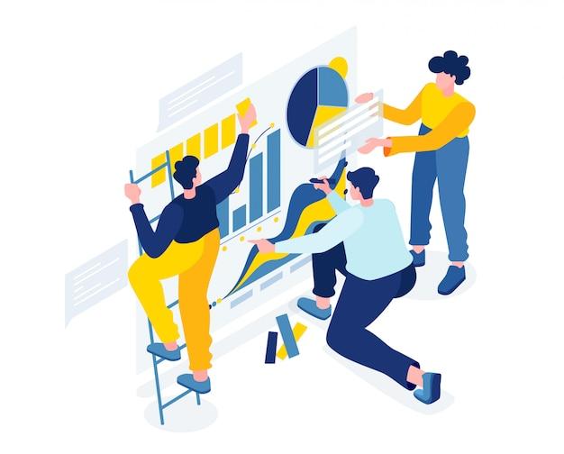 Творческая команда людей, работающих над проектом, Premium векторы