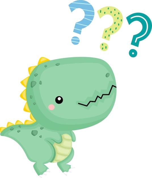 혼란스러운 표정의 귀여운 아기 공룡 무료 벡터