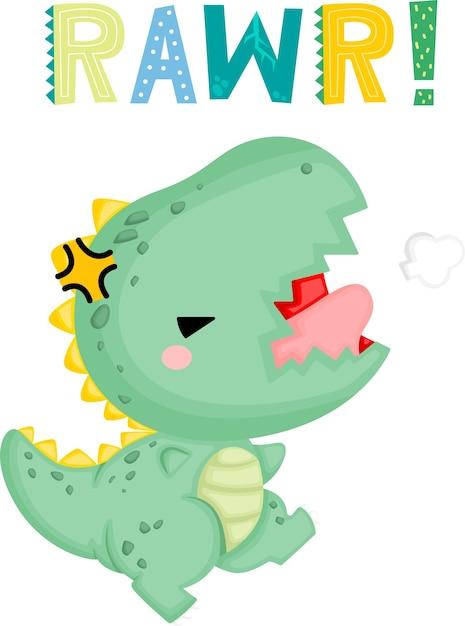 怒った表情のかわいい赤ちゃん恐竜 無料ベクター