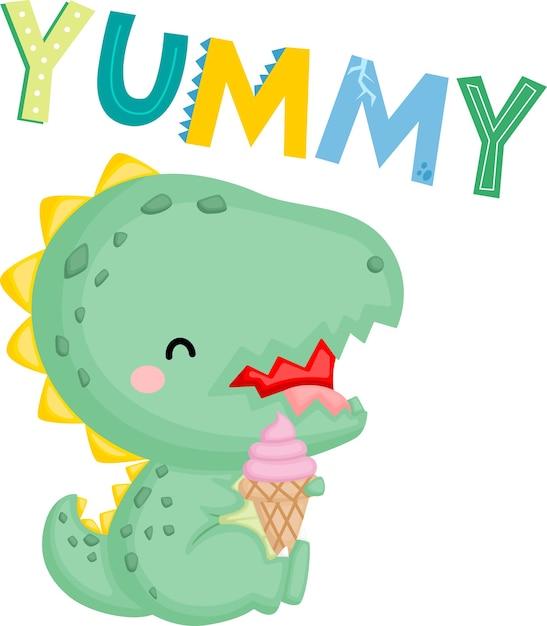 Милый маленький динозавр с мороженым Бесплатные векторы