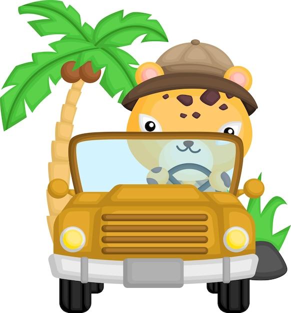 彼の車を運転しているかわいいチーター 無料ベクター
