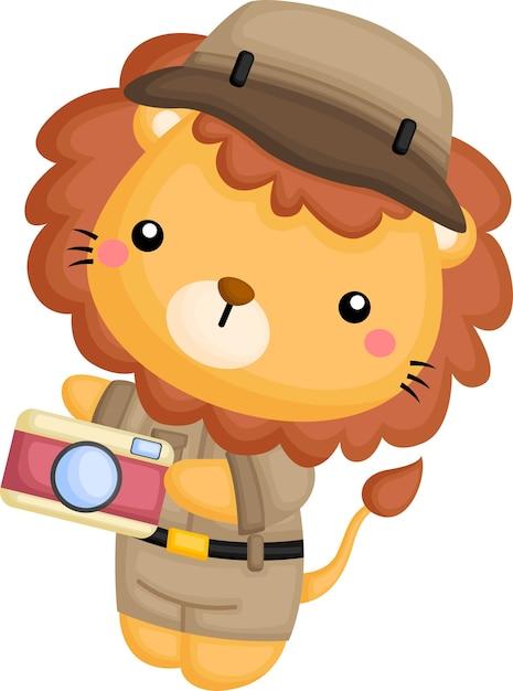 Милый лев в костюме рейнджера сафари Premium векторы