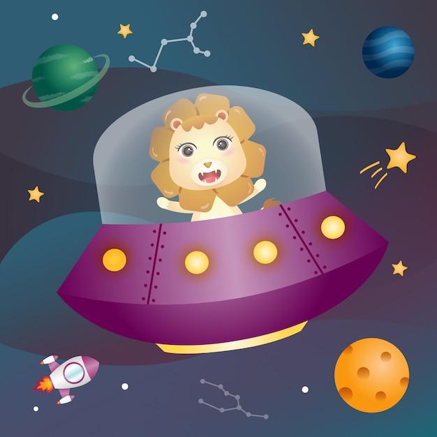 宇宙銀河のかわいいライオン Premiumベクター