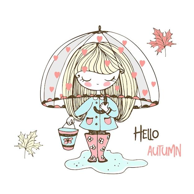 Милая маленькая девочка в резиновых сапогах идет по лужам под зонтиком. Premium векторы