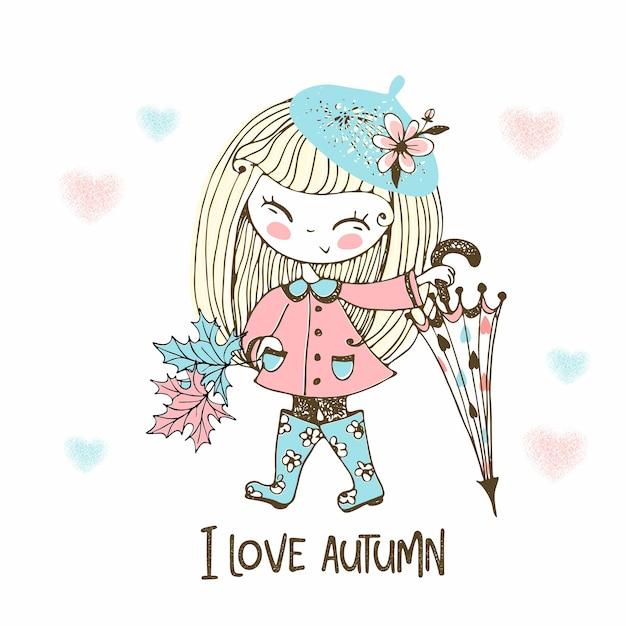 Милая маленькая девочка с большим зонтом в резиновых сапогах гуляет под дождем осенью. Premium векторы