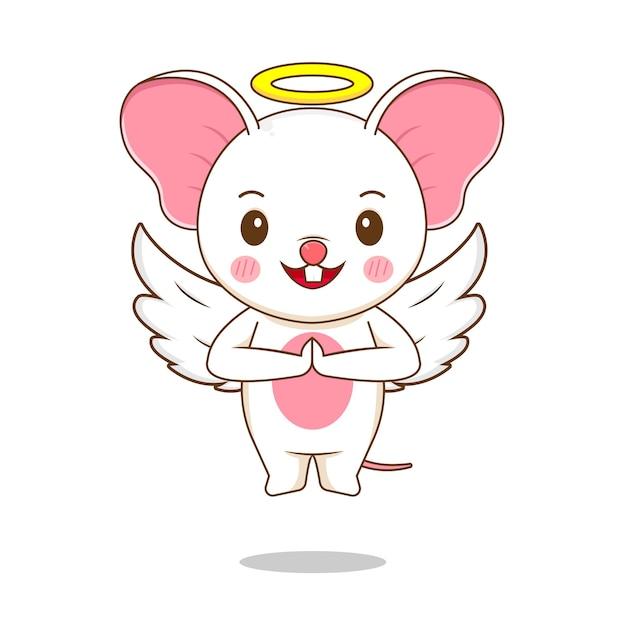 Милый персонаж мыши ангел Premium векторы