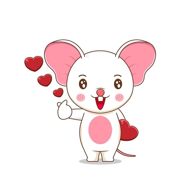 Милая мышь, дающая любовь Premium векторы