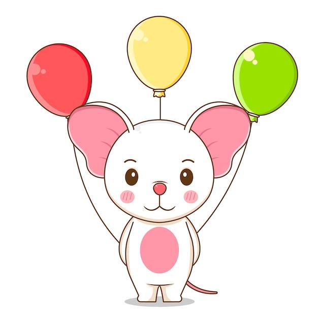 Милая мышь держит воздушный шар Premium векторы