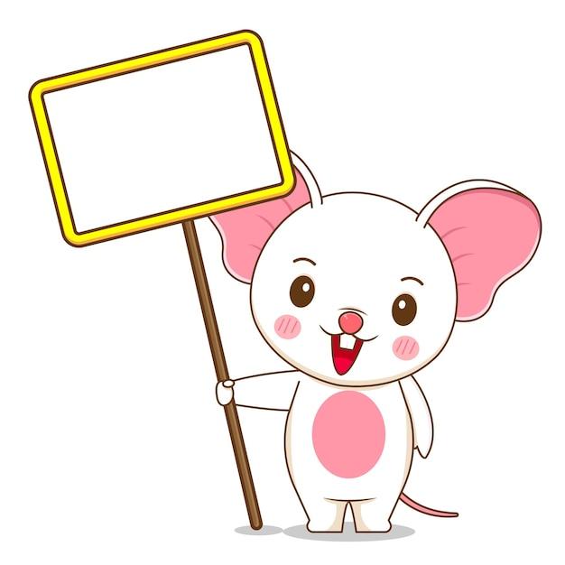 Милая мышка держит пустую доску Premium векторы