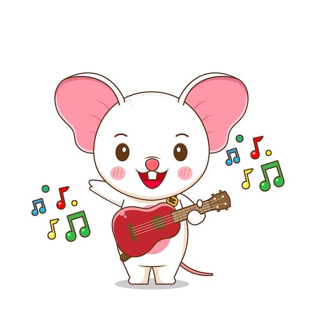 Милая мышка играет на гитаре Premium векторы