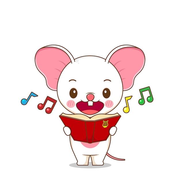 Милая мышка поет песню Premium векторы