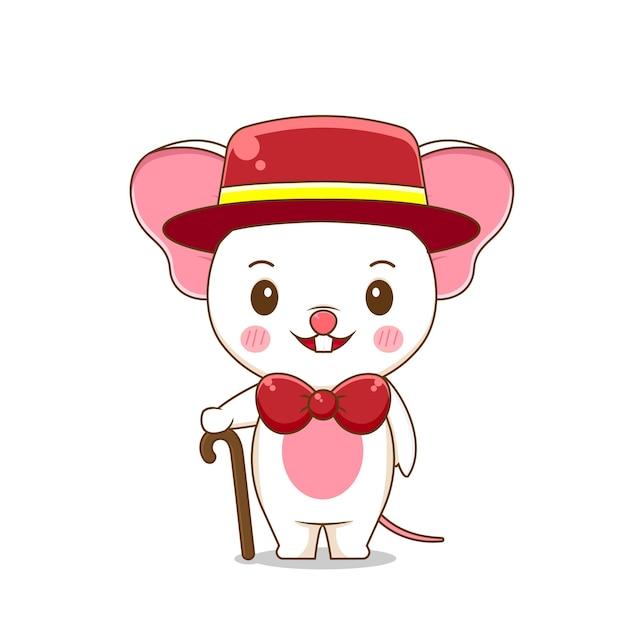 Милая мышка носит официальный костюм Premium векторы