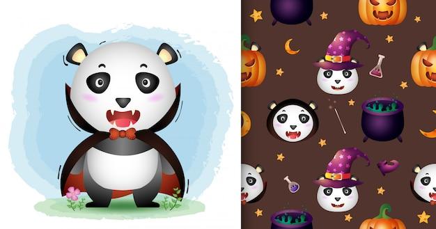 Милая панда в костюме дракулы из коллекции персонажей хэллоуина. бесшовные модели и иллюстрации Premium векторы