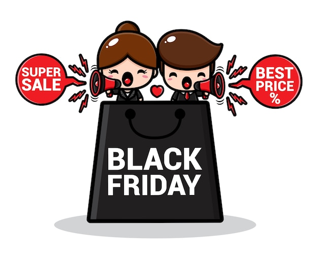 大きな黒い金曜日の買い物袋を持つかわいい販売促進のカップル Premiumベクター