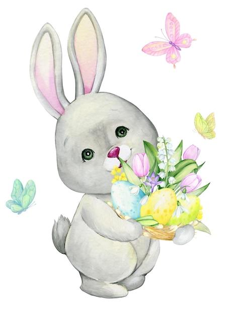 かわいいウサギがイースターエッグを持っています。漫画のスタイルの孤立した背景に水彩の概念。 Premiumベクター