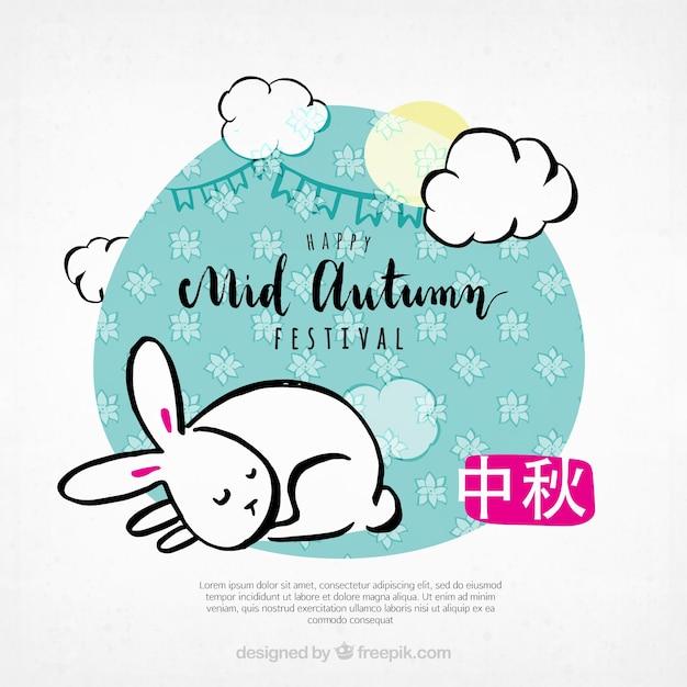 A cute rabbit, mid autumn festival