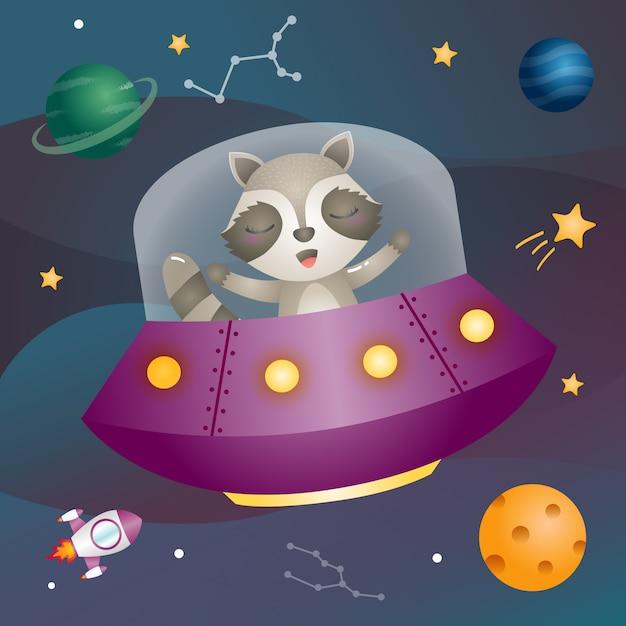 宇宙銀河のかわいいタヌキ Premiumベクター