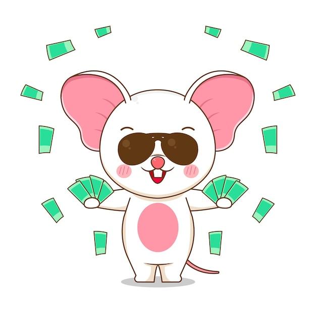 Милый богатый персонаж мыши Premium векторы