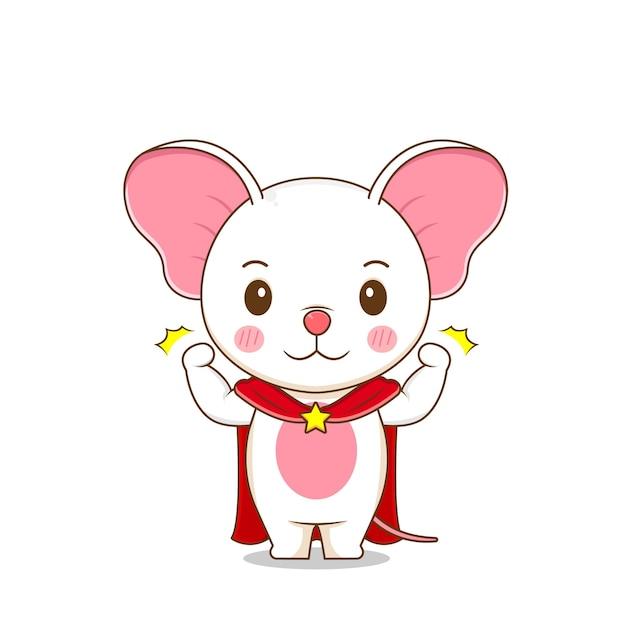 Милый сильный мышиный персонаж Premium векторы