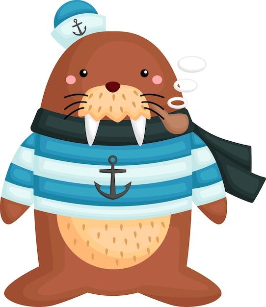 Милый морж в костюме моряка Бесплатные векторы