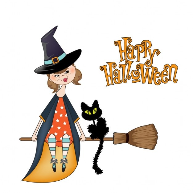 a cute witch for halloween vector free download