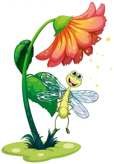花の下を飛ぶトンボ 無料ベクター