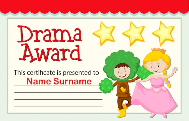 a drama award certificate vector free download