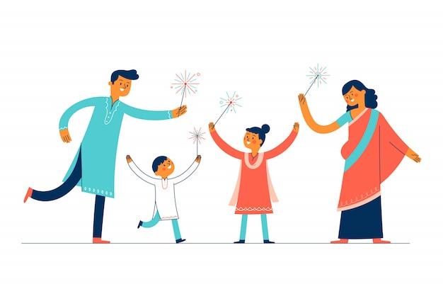 Семья матери и отца и двое детей отпраздновали день дивали, зажигая фейерверк Premium векторы