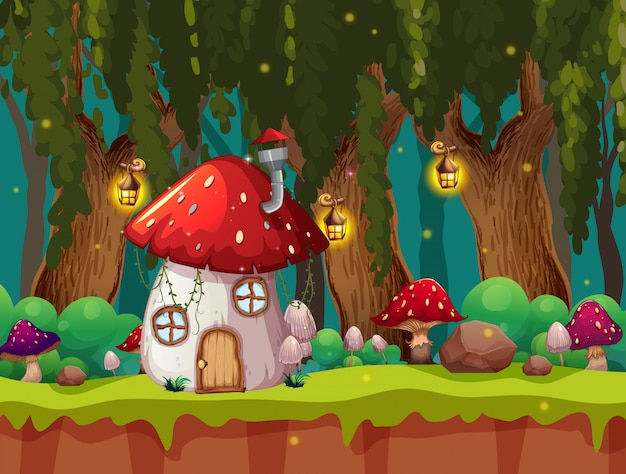 Сказочная волшебная сцена Бесплатные векторы